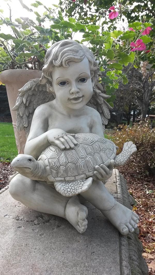Cherub Turtle Garden Statue ...