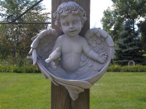 Legacy Cherub and Sparrow Birdfeeder