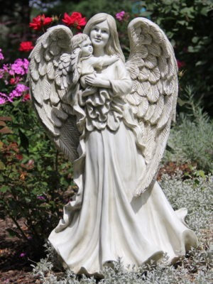 Large Garden Statue with Angel and baby Cherub